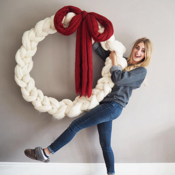 Lauren Aston Designs chunky knitted Christmas wreath Giant Christmas wreath Notonthehighstreet