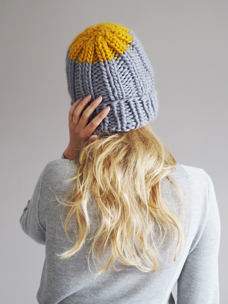 Colour Pop Hat Knitting Kit - Shown in Mid Grey with a Mustard pop
