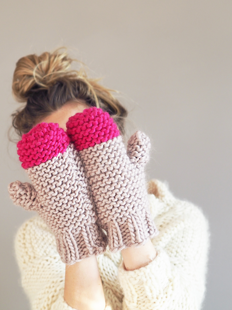 Colour Pop Mittens shown in Mink Blush and Bright Pink