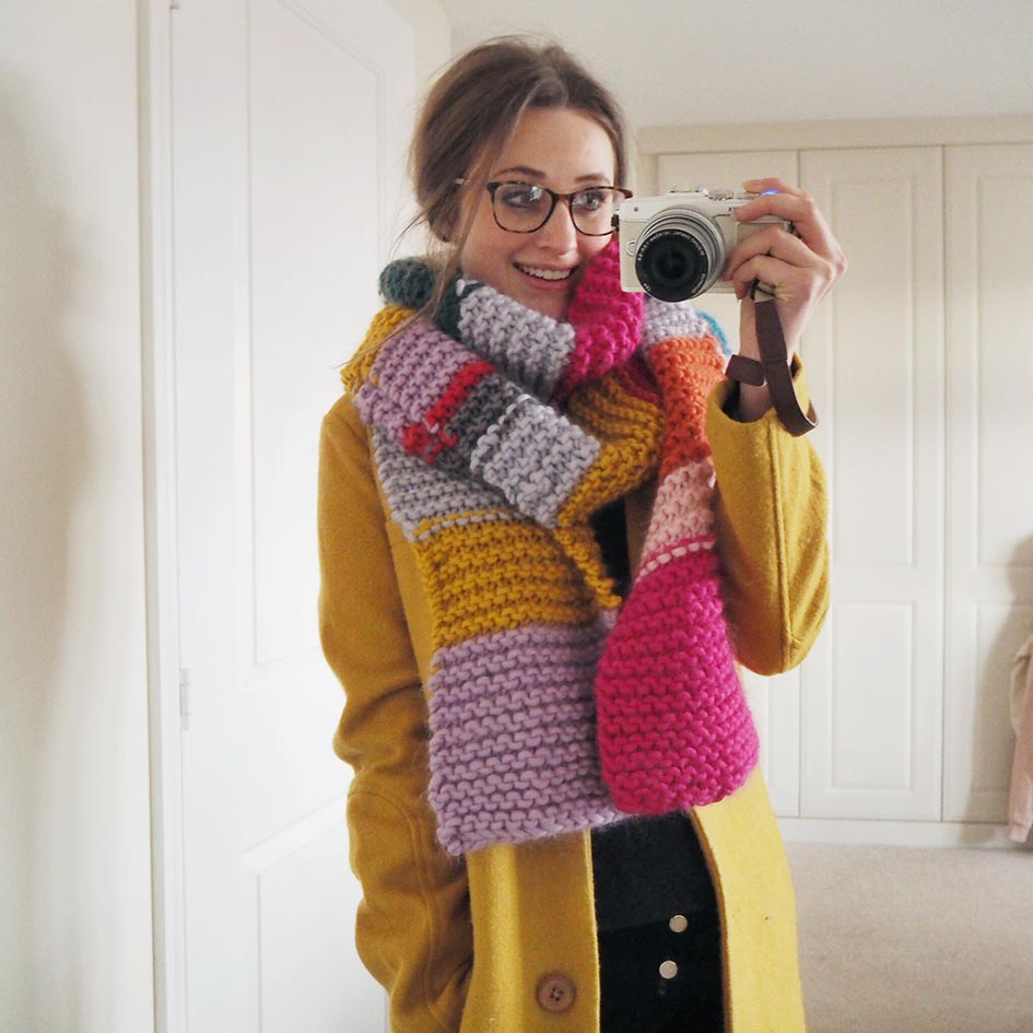 (I heard it was colourful so I wore my Lucy and Yak (gifted) Coat and my new knitted Scarf - made from  Box of Balls