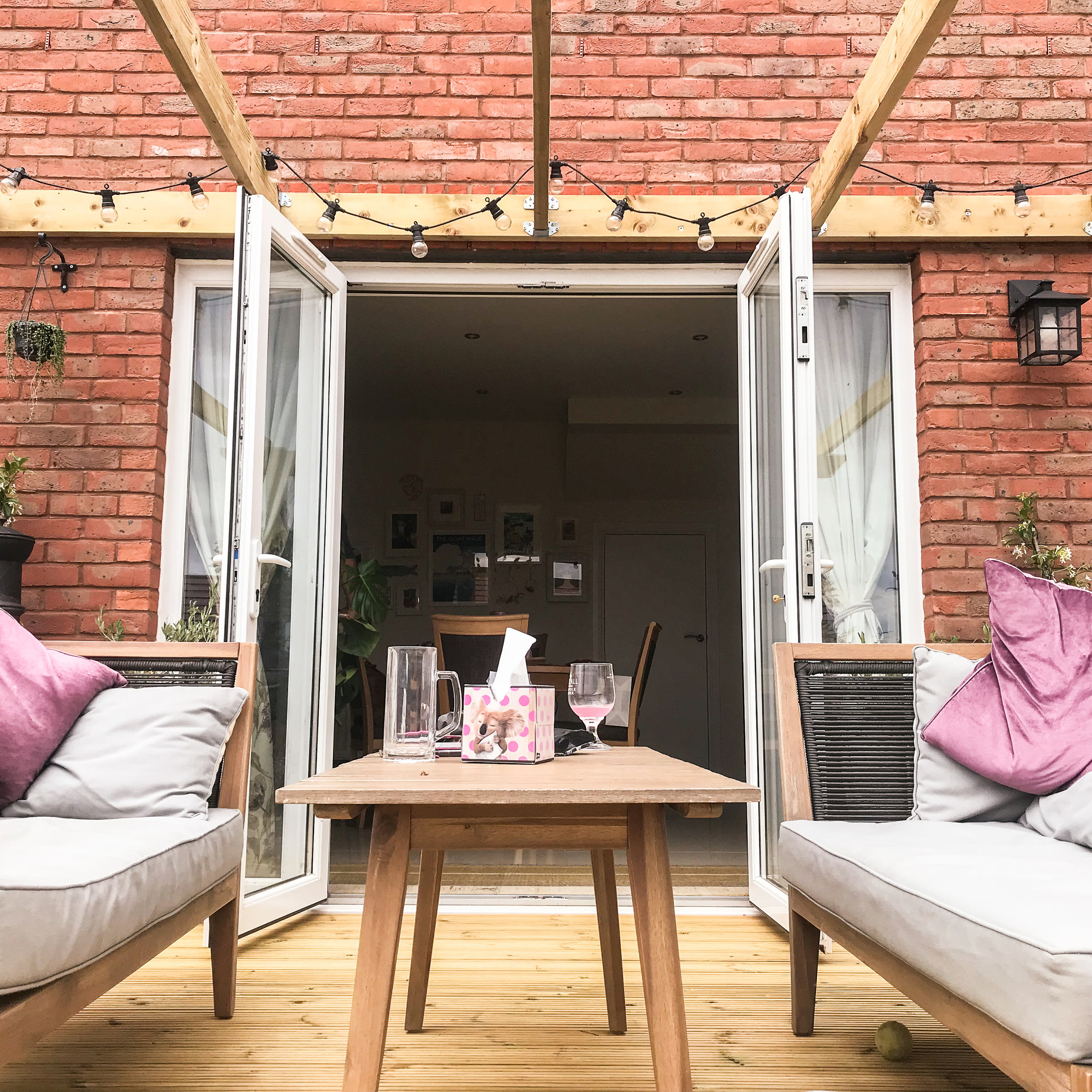 Working from the deck (when I was ill…hence TISSUES!)
