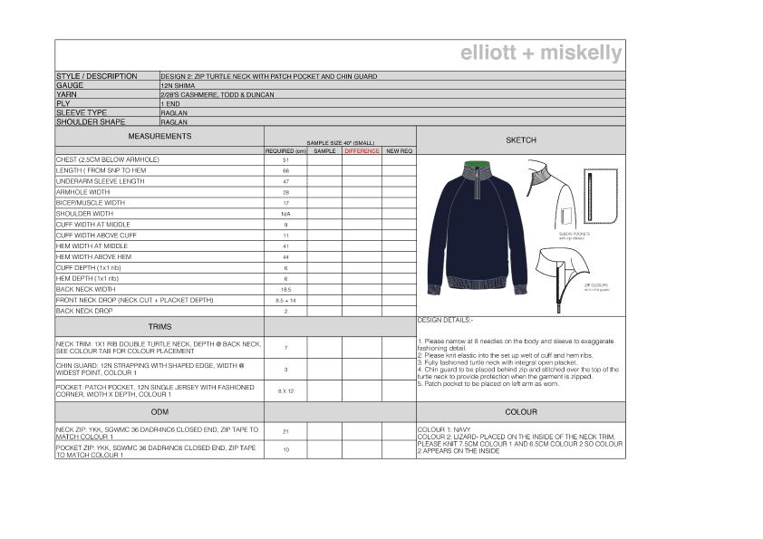 Knitwear technical spec