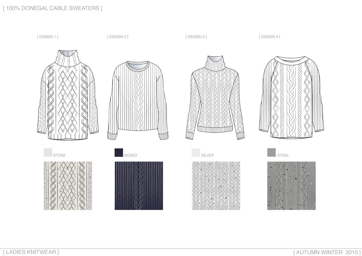 Ladies donegal knitwear drawings