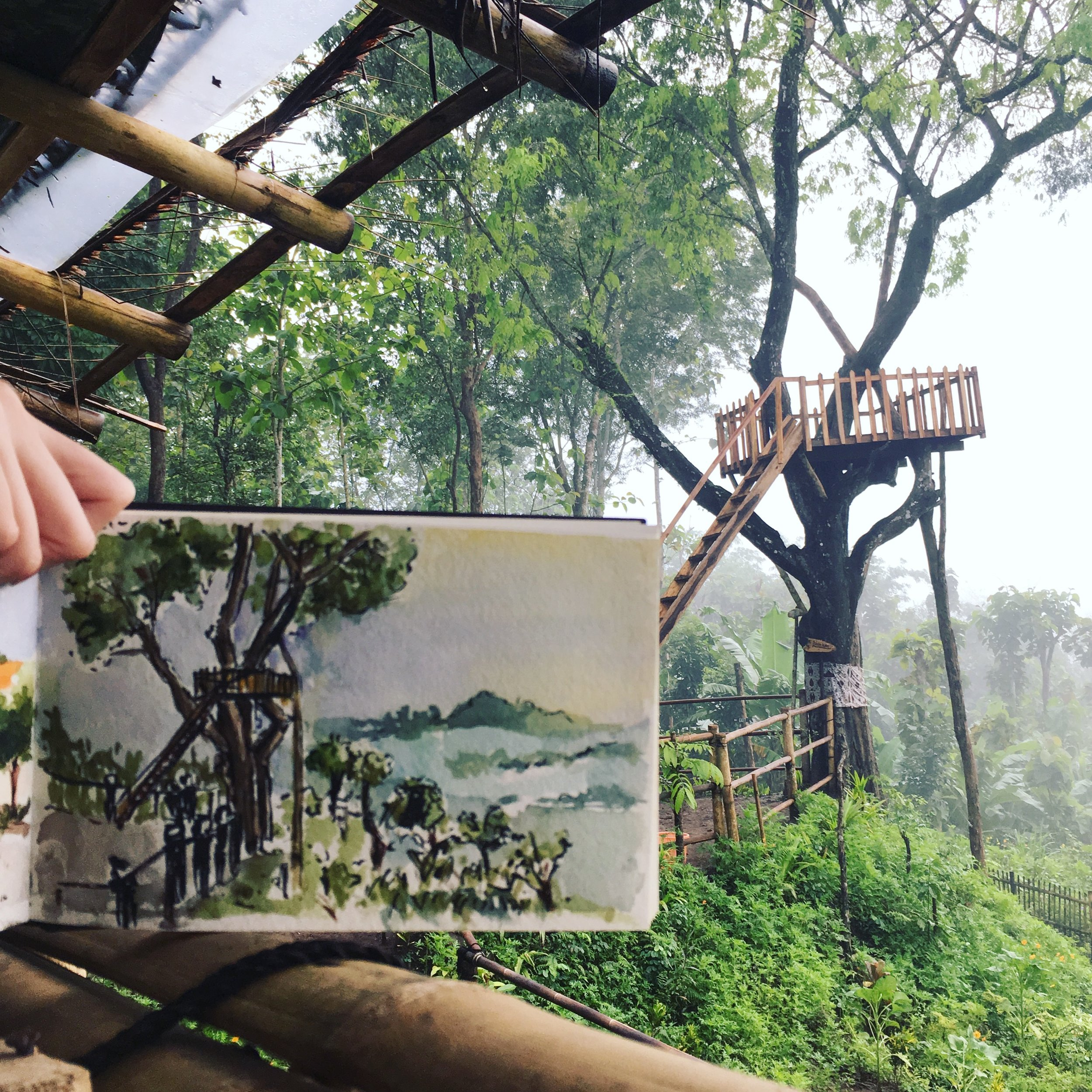 This was sketched on a treehouse on Bukit Barede when we caught the sunrise overlooking the Borobudur.