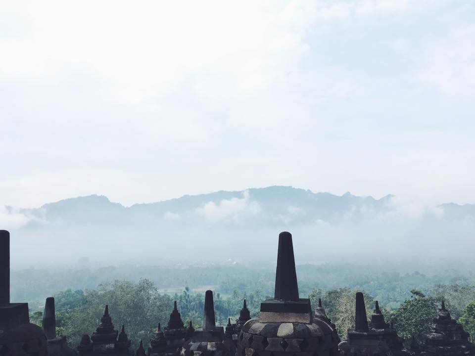 The view up on top Borobudur