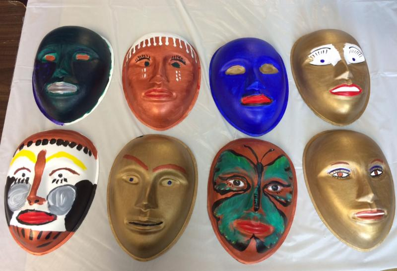 Masks made in Art Therapy