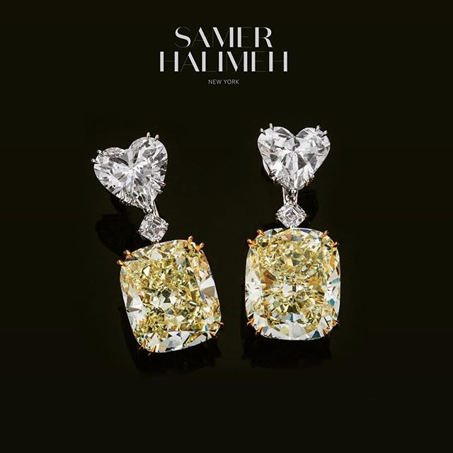 A stunning pair of 30+ cts intense yellow diamonds, held by two precious white diamond hearts, exemplifying Samer Halimeh's signature character of rarity and style. 💎 • #samerhalimehny #samerhalimeh #highjewelry #diamondearrings #rarediamonds #earrings
