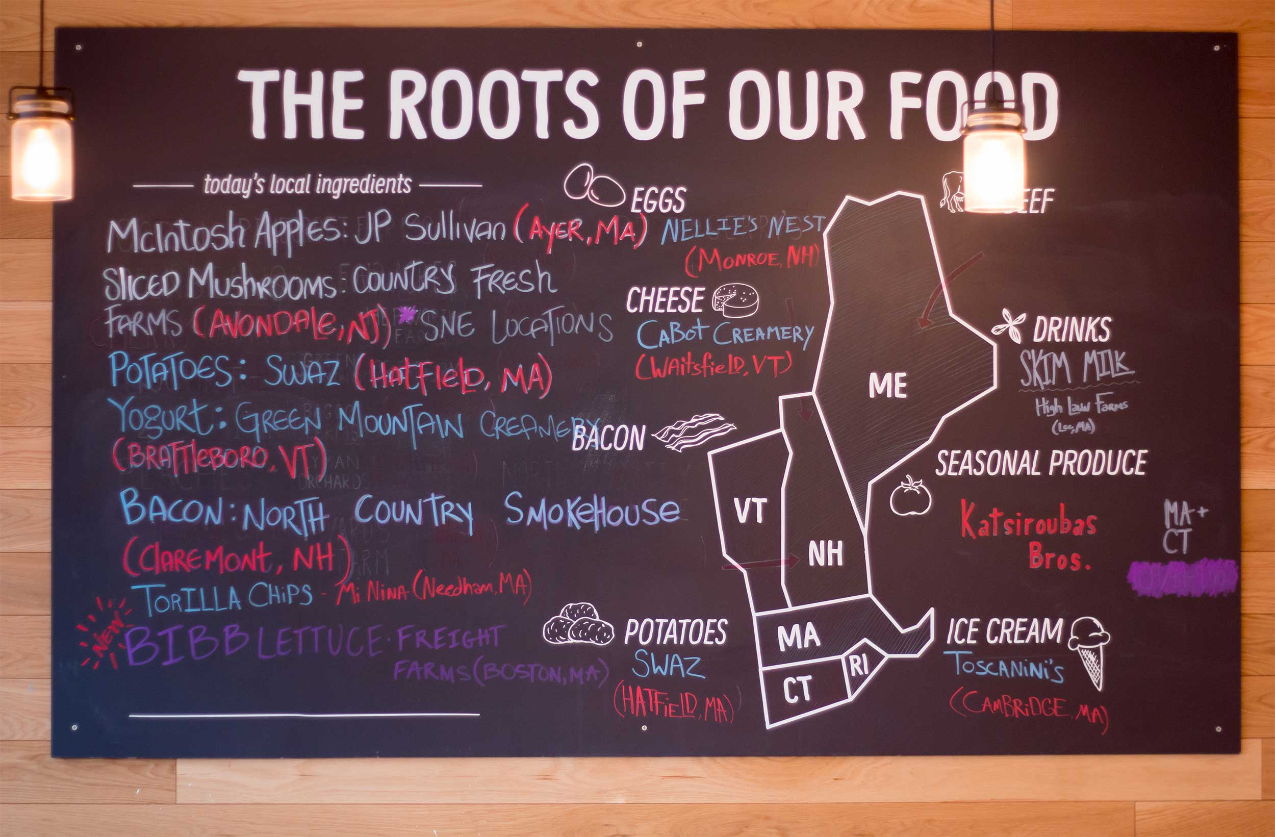 Freight Farms Bibb Lettuce makes it onto the B.GOOD chalk board as a local supplier!