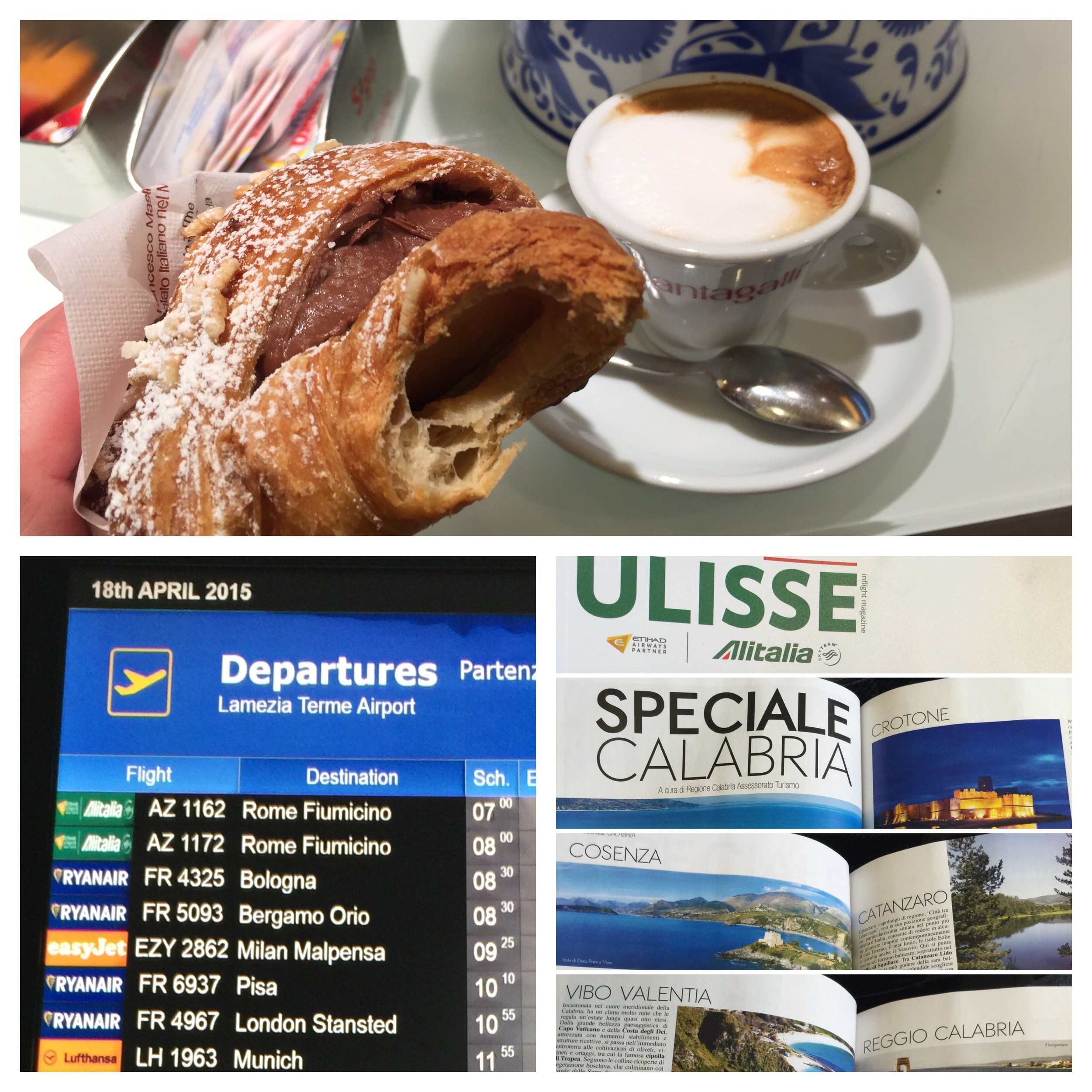 Lamezia airport bar, departure and inflight magazine