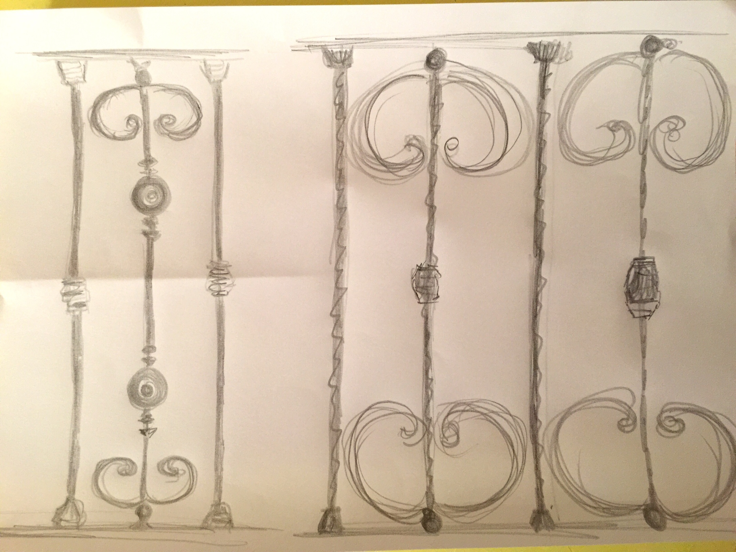 playing with designs for the WROUGHT iron balcony railings