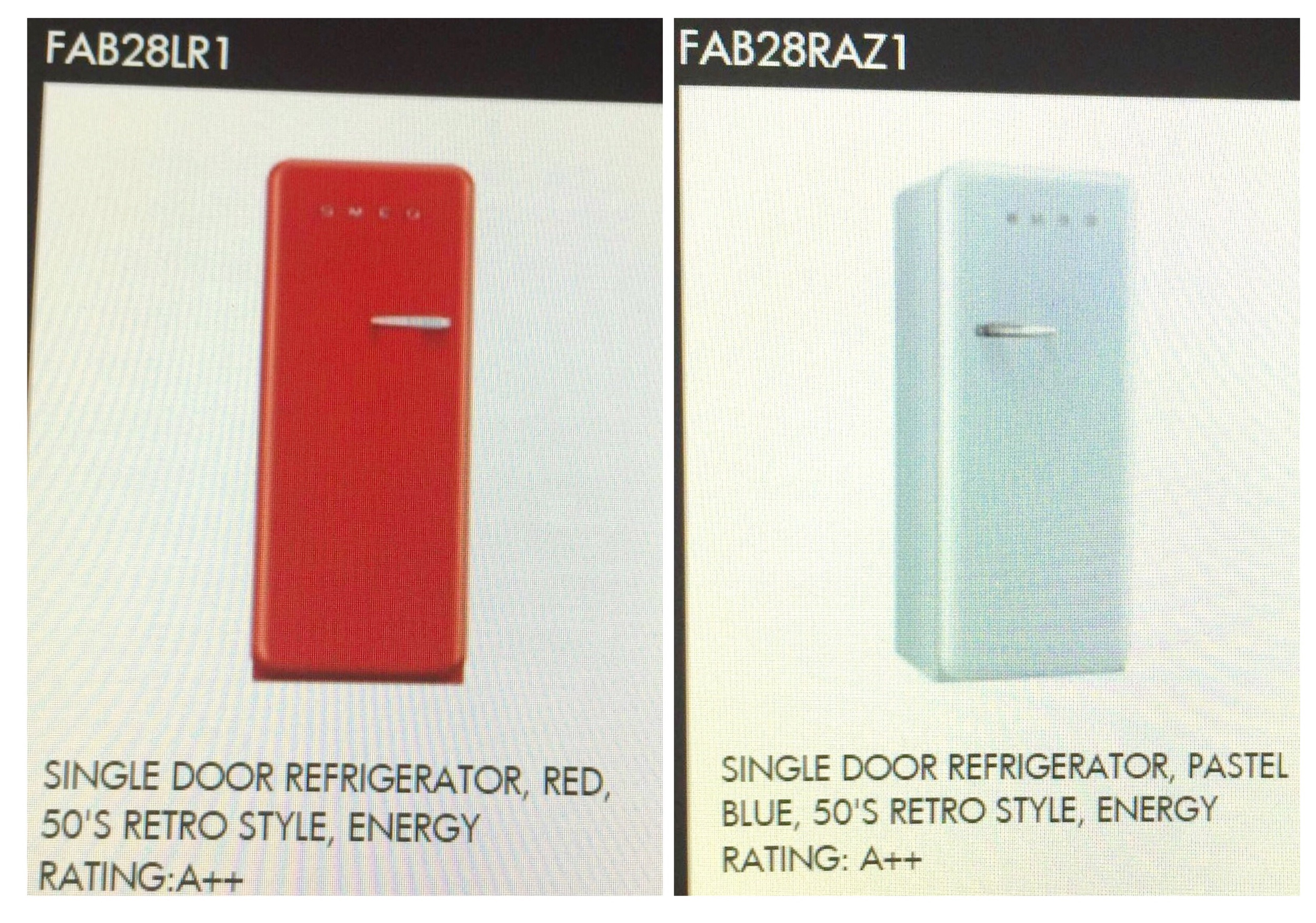 Retro fridges by Smeg - L means hinges are left, and R means Hinges are Right ... important details!