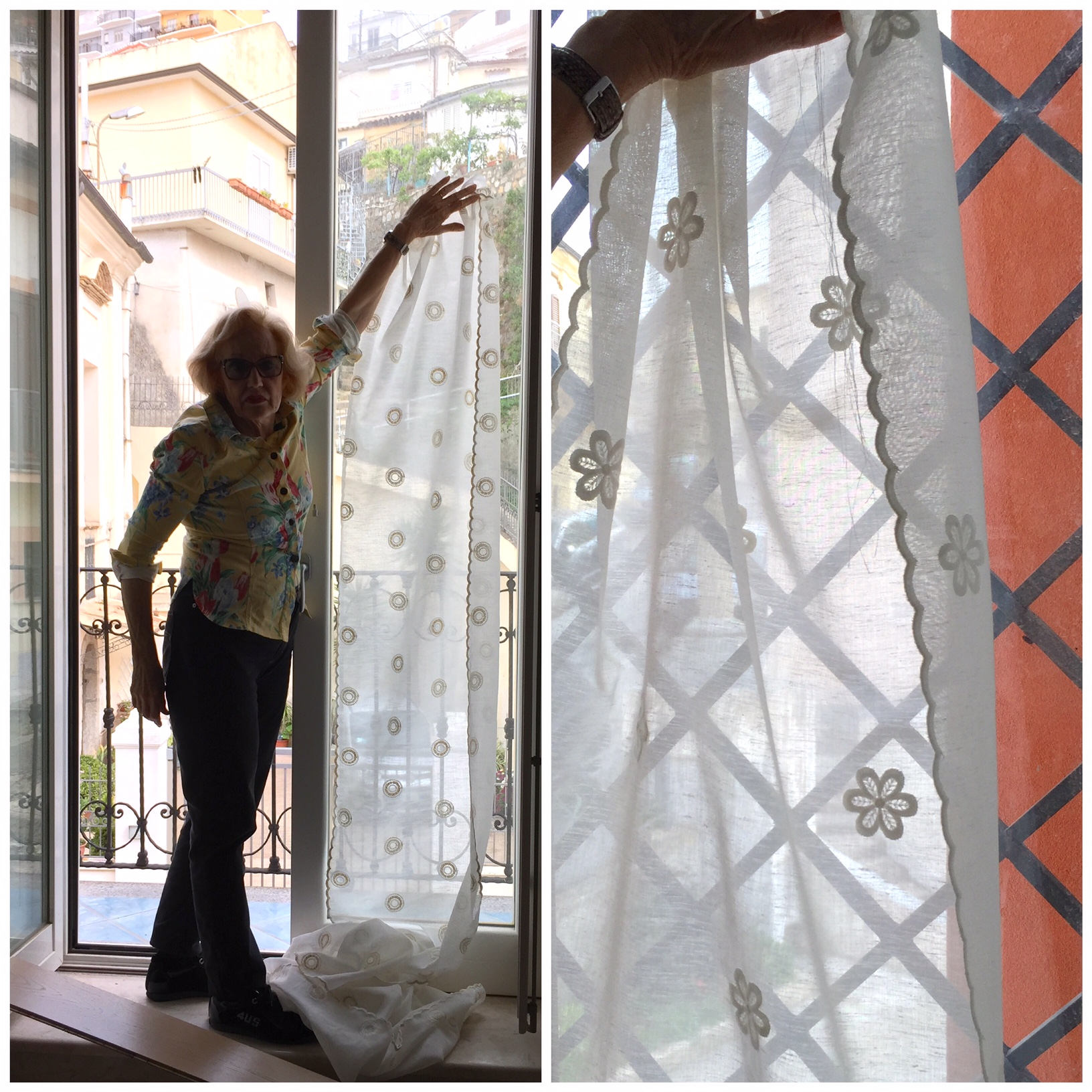 we can't wait to see our fabrics from the market on these windows