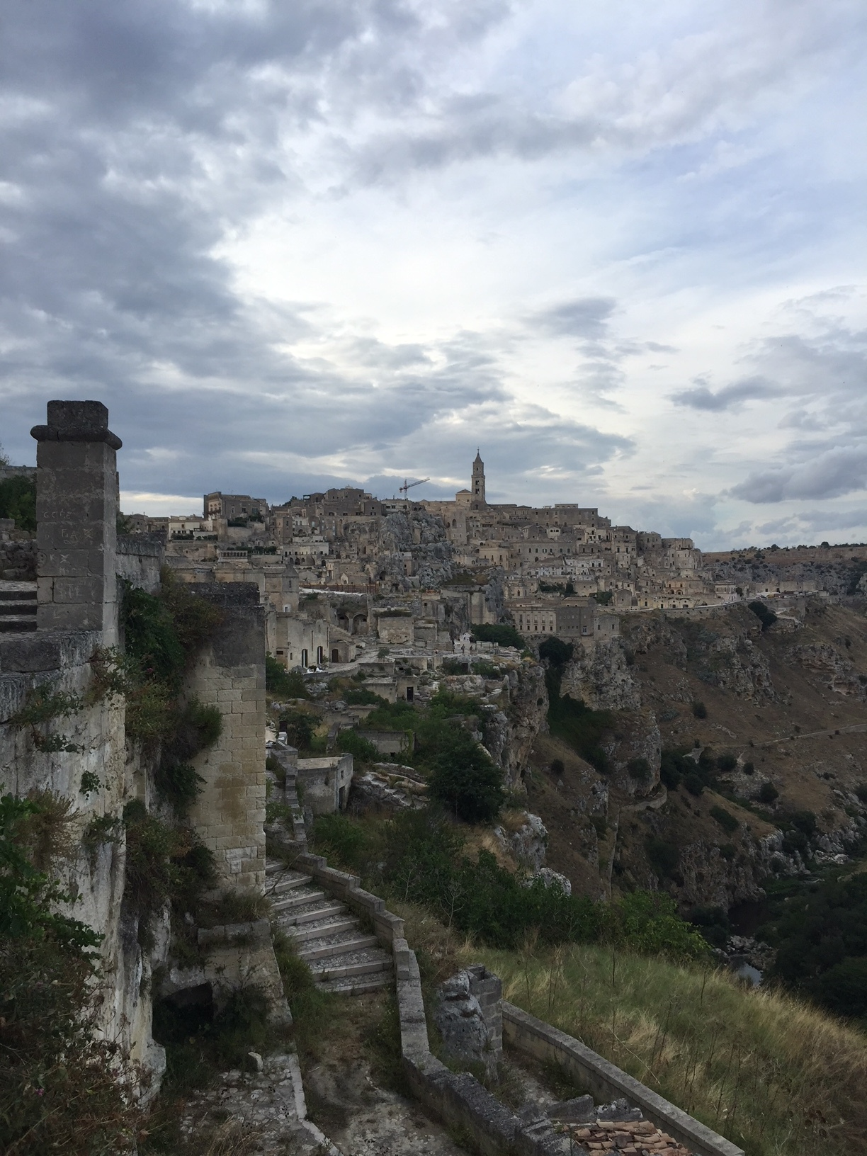 Exploring abandoned caves and scenery in Matera