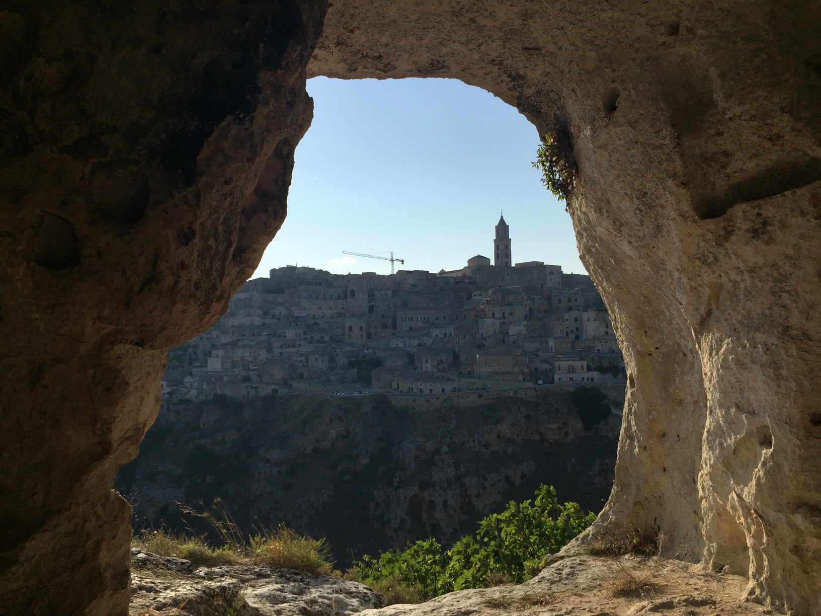 View of Matera out of a cave, where people lived over 1000 years ago!
