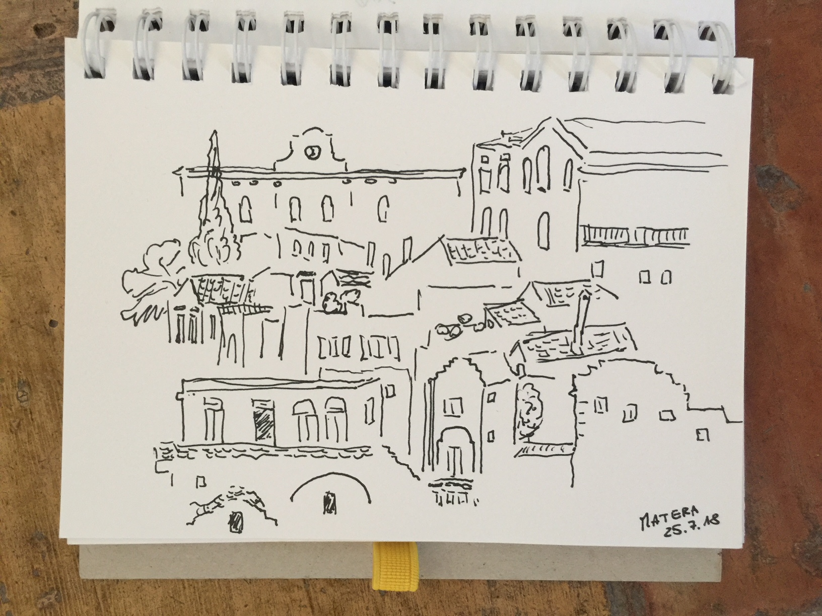"Matera gave me an instant urge to draw …. the view from ""Al Duomo Relais"""
