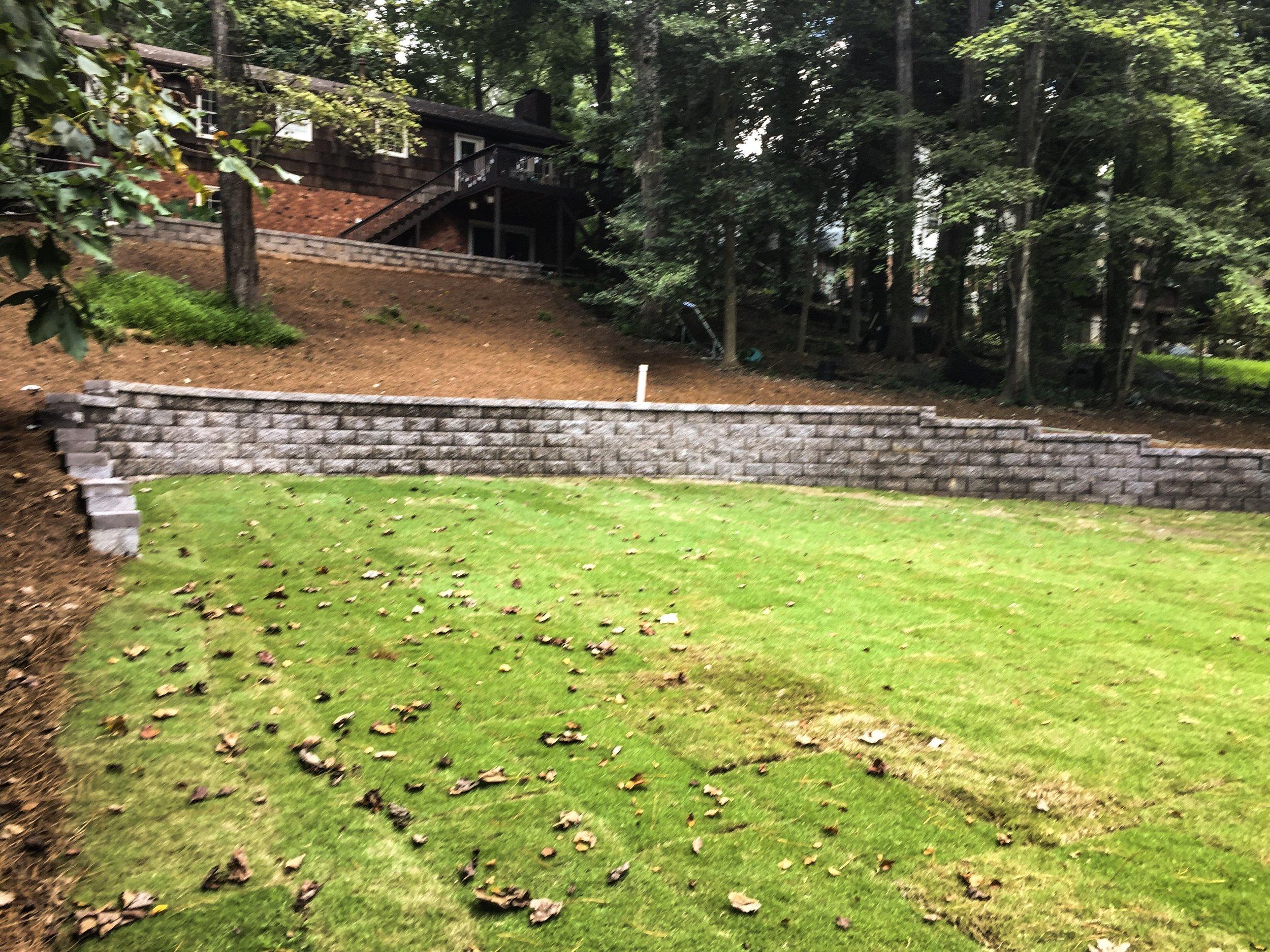 Retaining Wall with Zoysia Sod