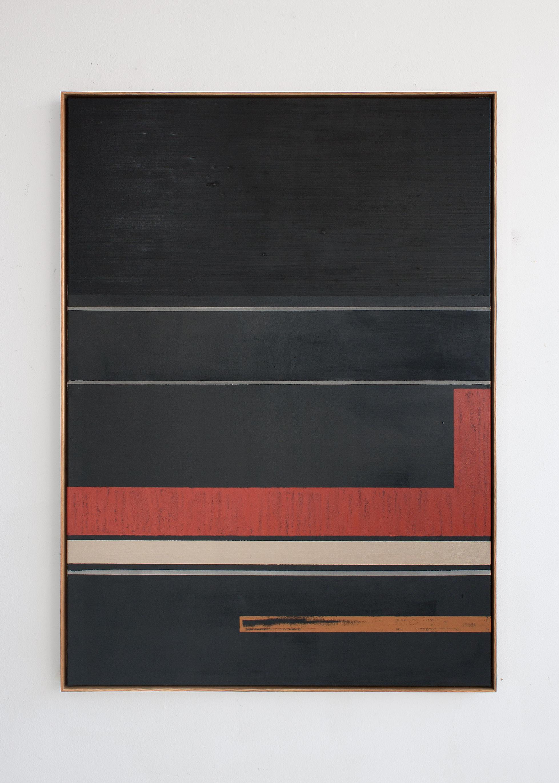 """""""D-Play"""", acrylic and oilstick on canvas, 163 x 118 cm."""