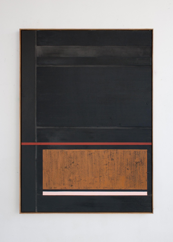 """""""V-Turn"""", acrylic and oilstick on canvas, 163 x 118 cm."""