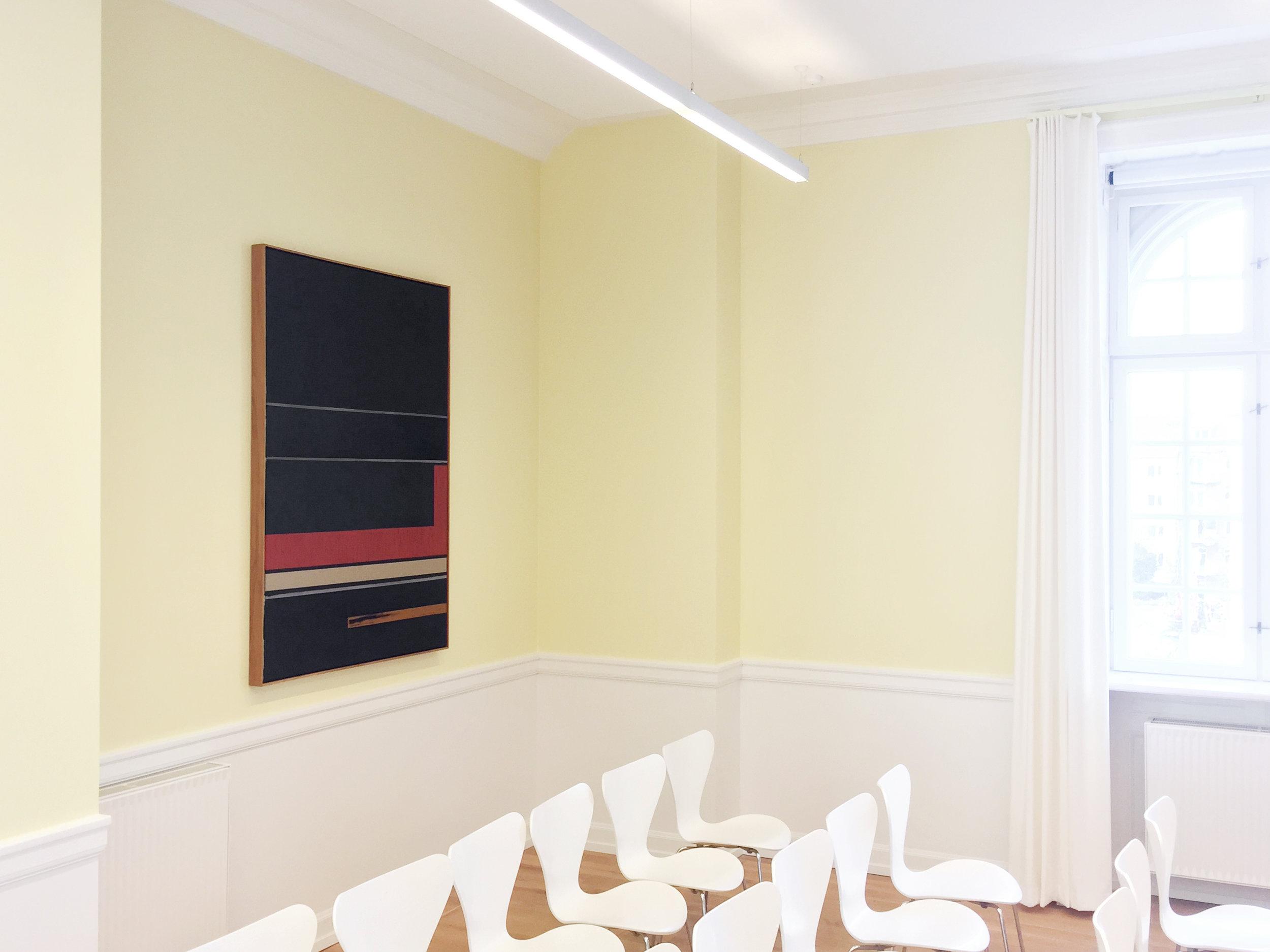 """Aarhus Courthouse, Aarhus, Denmark, 2018 (""""D-Play"""", acrylic and oilstick on canvas, 163 x 118 cm)"""