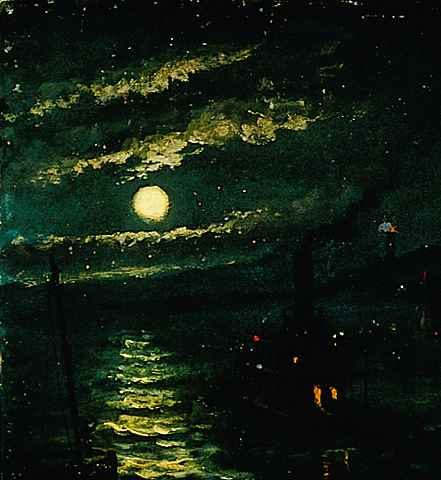 """Night on the River,"" a painting by John Banvard, the subject of my screenplay   Panorama  ."