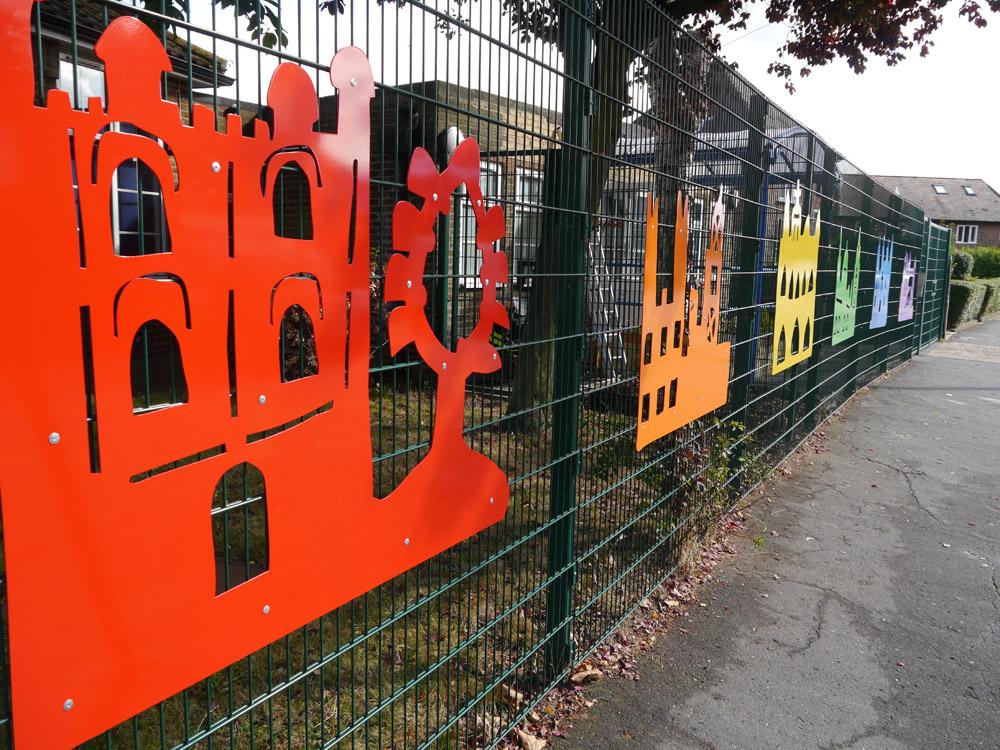 London skyline fence art