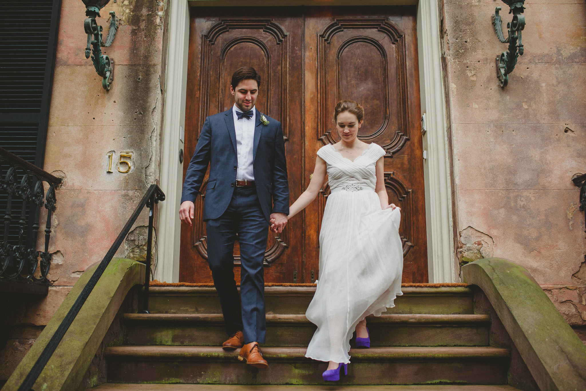 Savannah Wedding Photography - Bride and Groom on stairs
