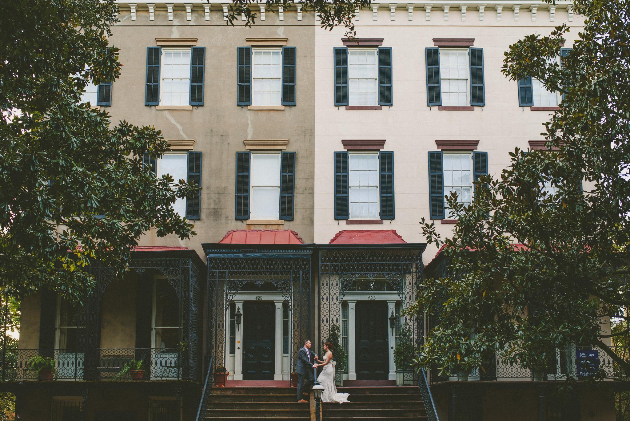 Savannah Wedding - Bride and Groom in Historic Districe