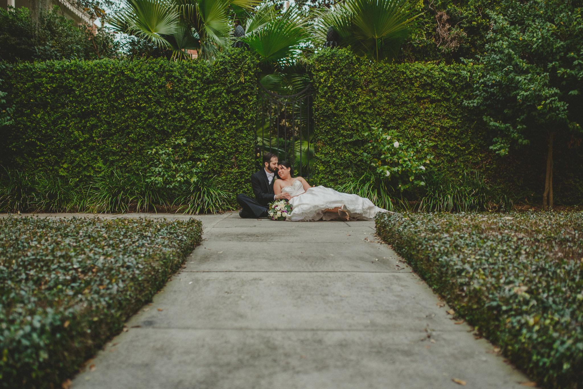 Savannah - Bride and Groom in ivy