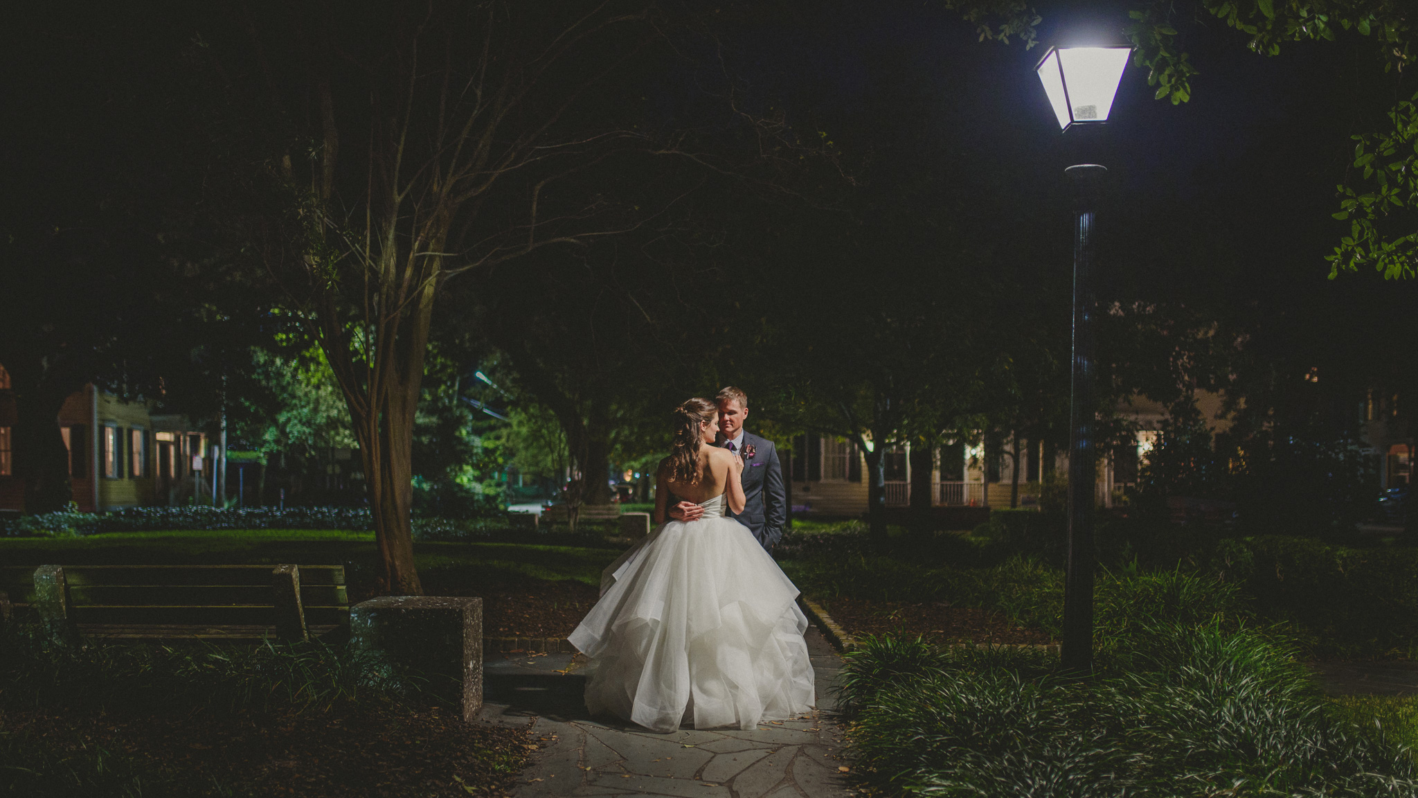 Savannah Wedding - Bride and Groom at night