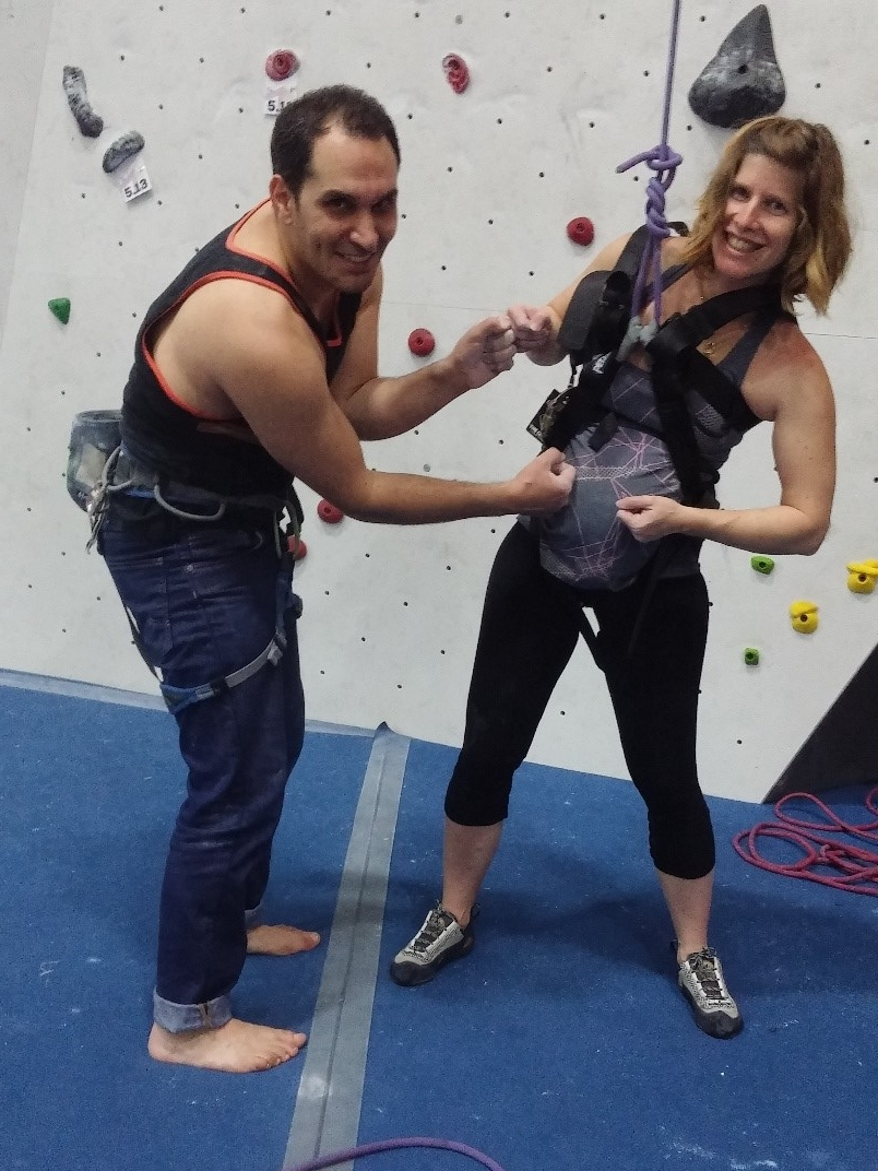 Climbing at The Cliffs with Hagai, 30 weeks pregnant