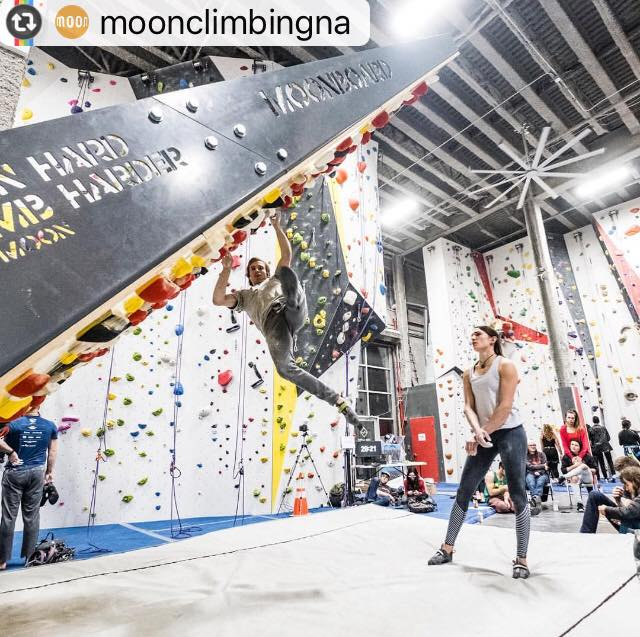 We hosted the first ever Moonboard Masters comp as the only US location! Dozens of members woke up early for a pancake breakfast to watch Daniel Woods and Kyra Condie compete. Photo: Boone Speed