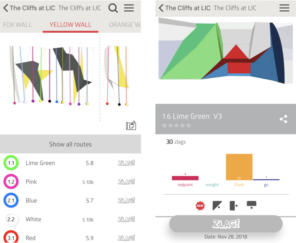 Sample screenshots of the Vertical Life App