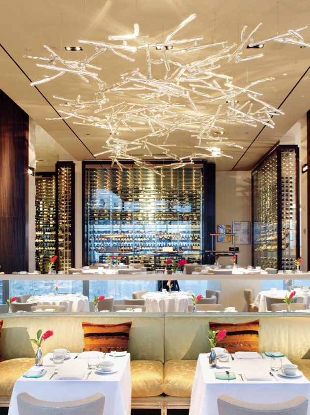 sei studio glass chandelier asiate mandarin oriental new york