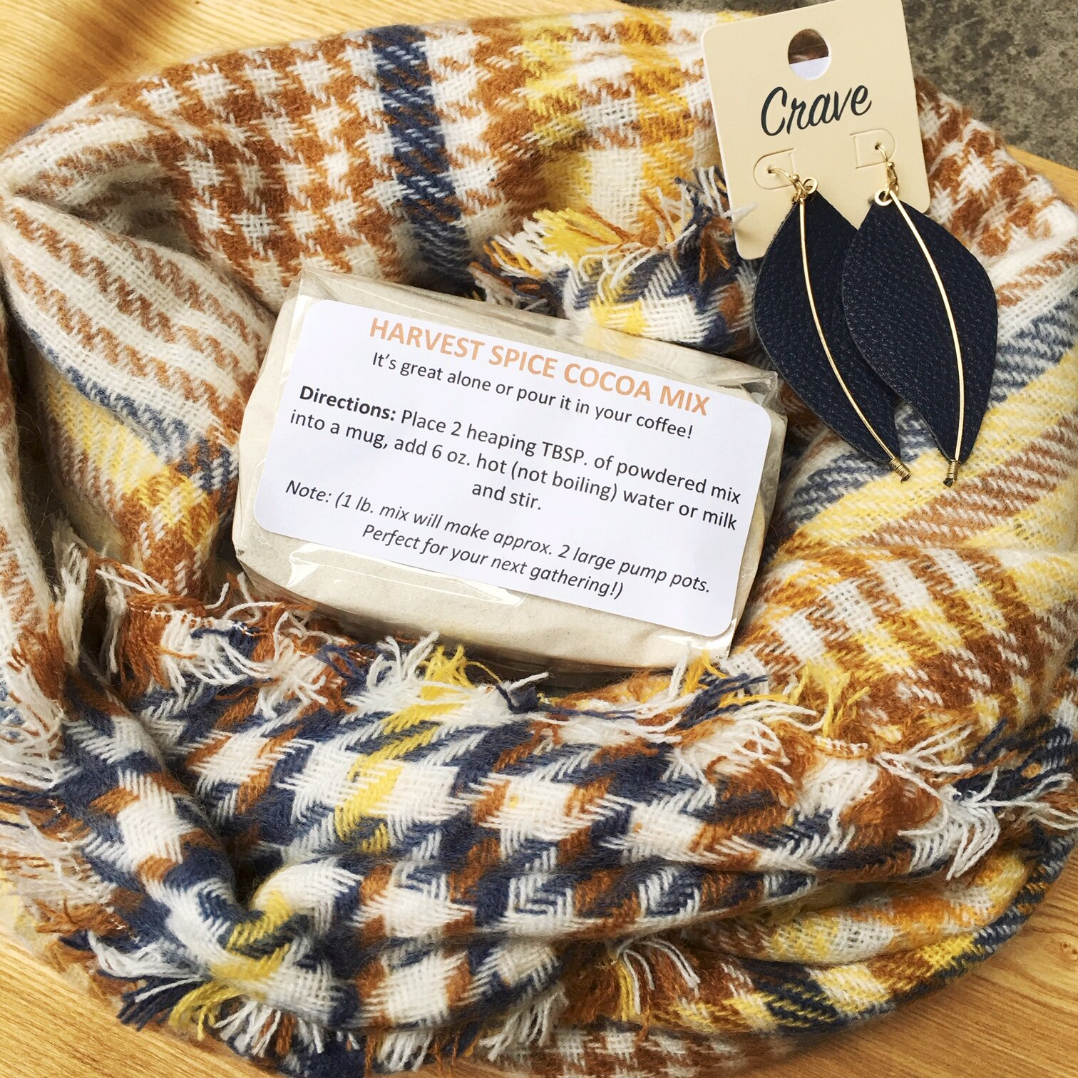 Find this scarf, earring and cocoa giveaway contest on our Facebook page!