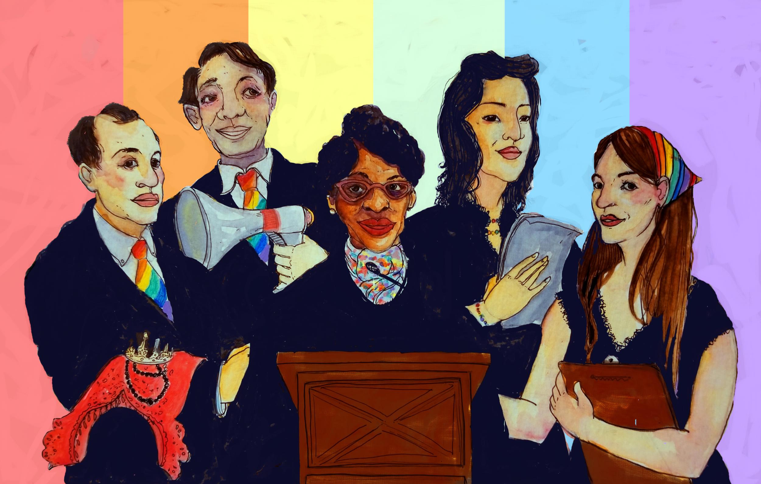 José Sarria, Harvey Milk, Althea Garrison, Kim Coco Iwamoto, and Danica Roem (Illustrated by Mel Paisley)