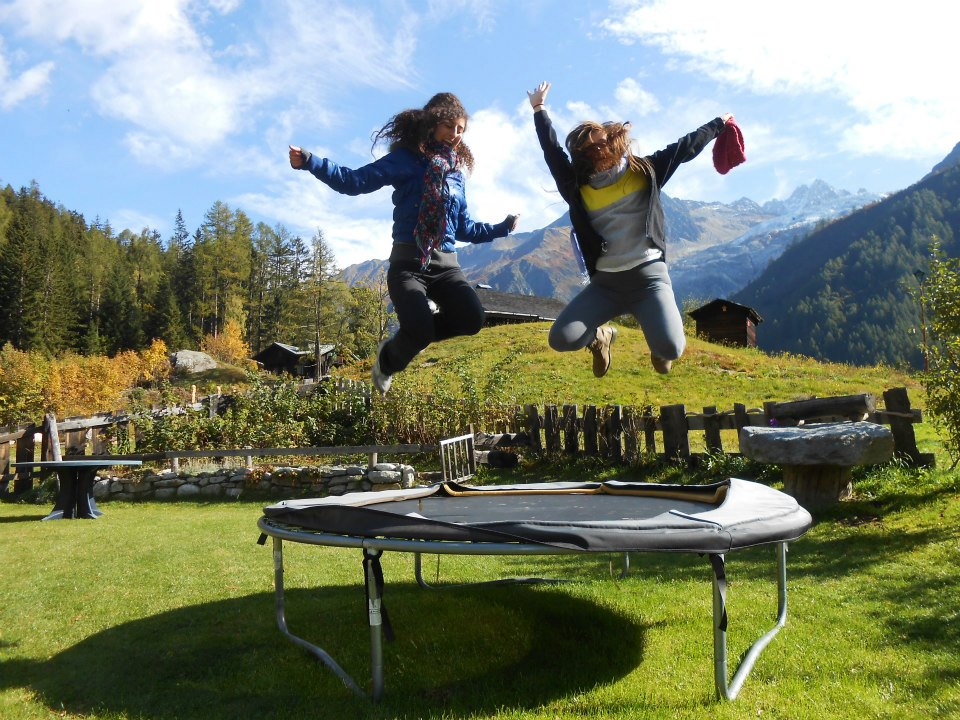 Rachel Garbus and friend letting all kinds of flags fly in the French Alps