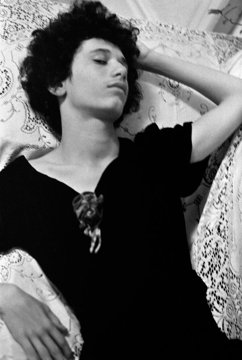 "Donna Gottschalk, ""Alfie in Mary's Dress"" (1973), silver gelatin print (2017) (courtesy Leslie-Lohman Museum of Gay and Lesbian Art)"