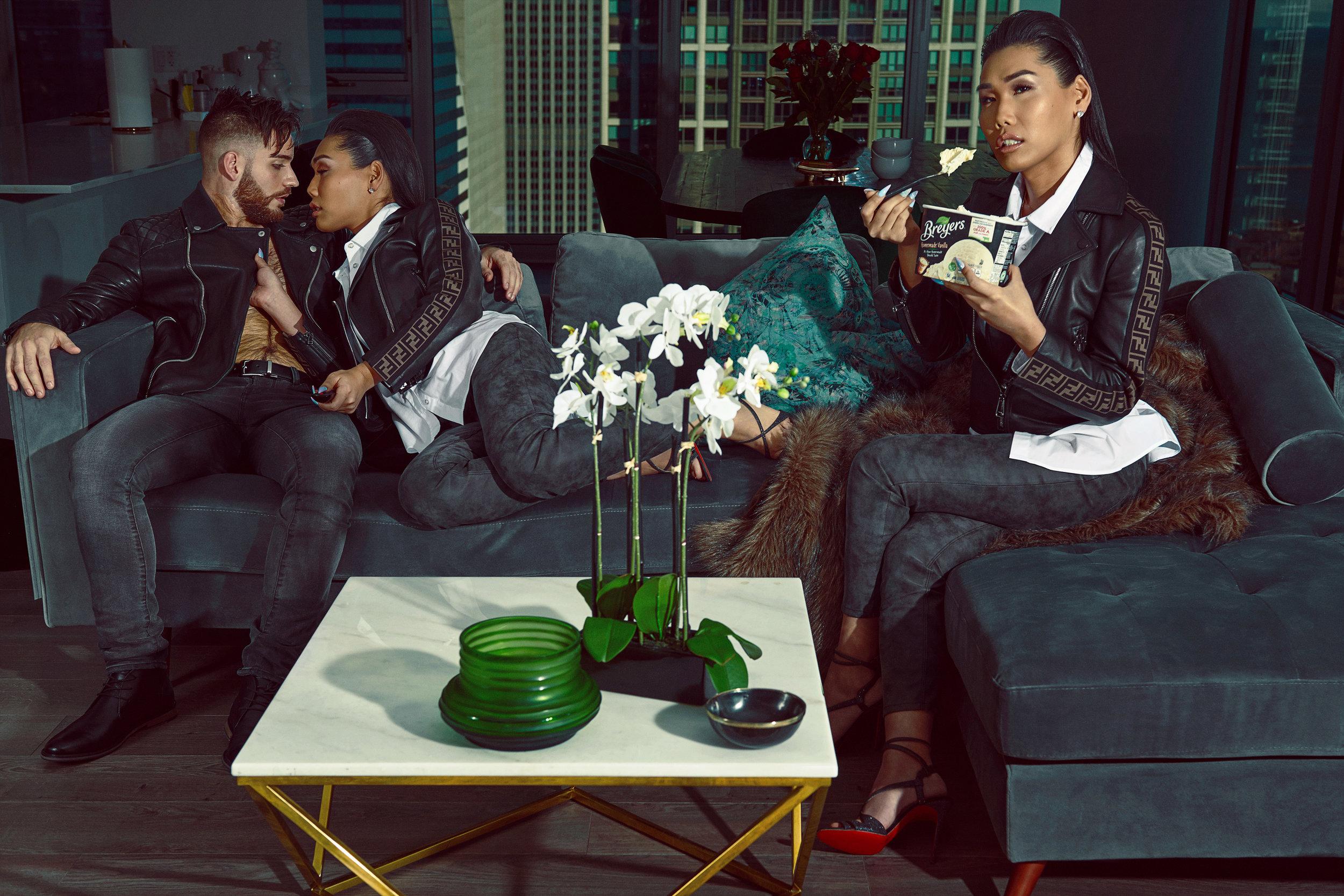 Brandon—Jacket: TopMan, Jeans: John Varvatos, Shoes: Calvin Klein  Gia—Jacket: Fendi, Shirt: Tommy Hilfiger, Pants: Express, Shoes: Christian Louboutin