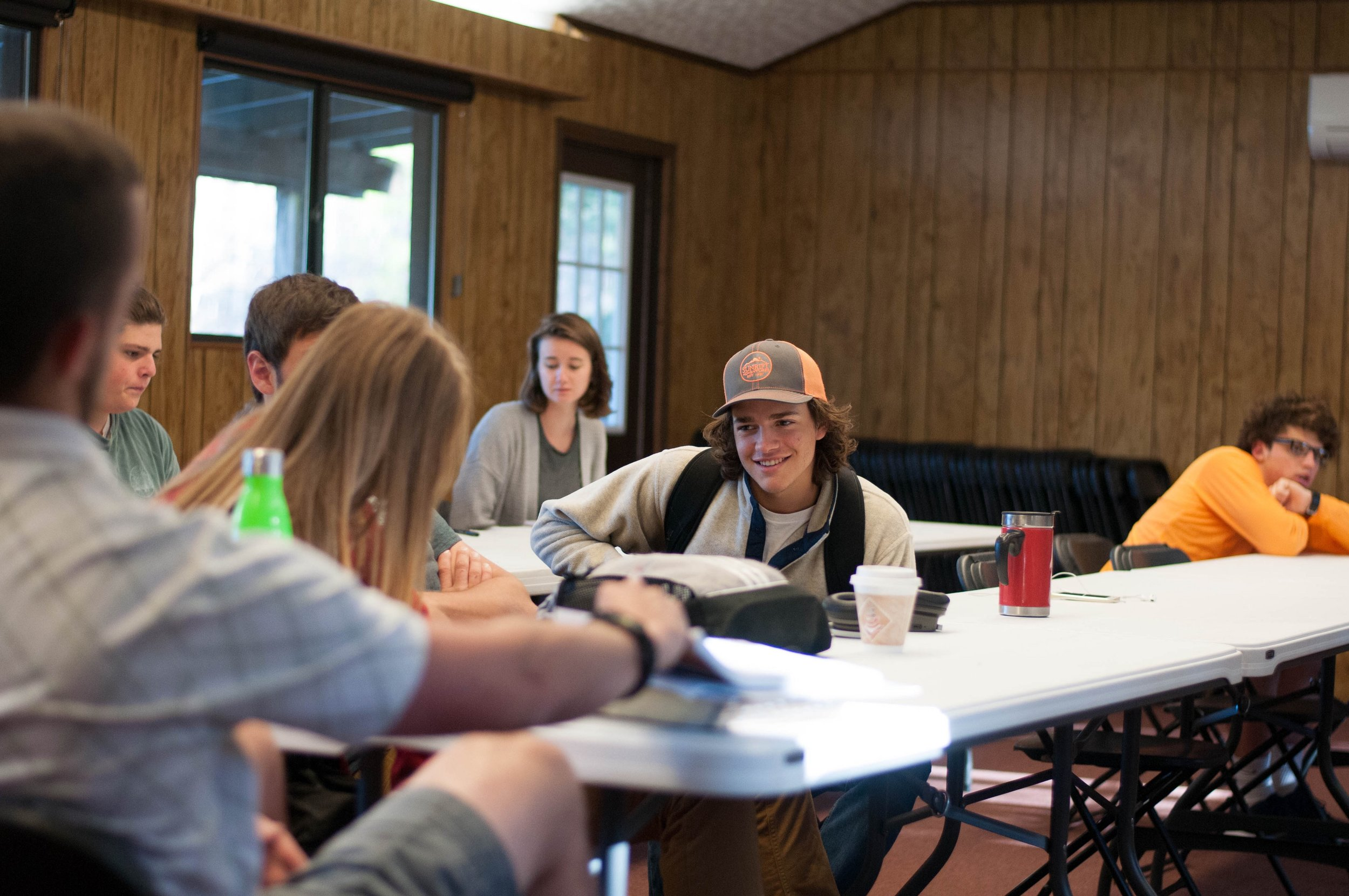Students learning in one of their eleven classes that are fully accredited through Cairn University. Students graduate with 24 fully-transferable college credits as part of the Vox Bivium Gap Year School experience.