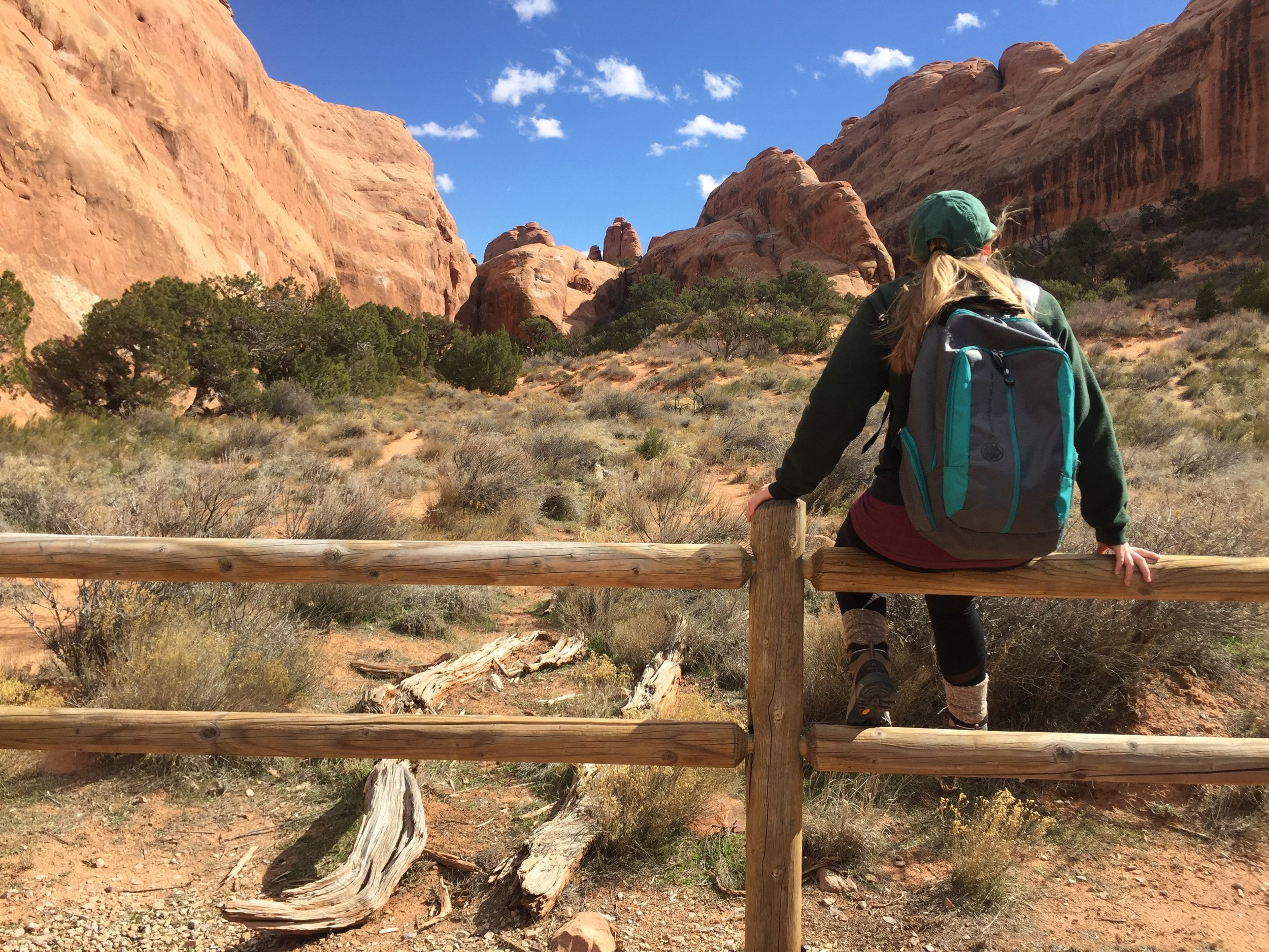 """A student on one of our great adventure trips in Moab, Utah. One of our core components is """"great adventure."""" Students go on five adventure trips and four mission trips over the course of their nine months at Vox Bivium Gap Year School."""