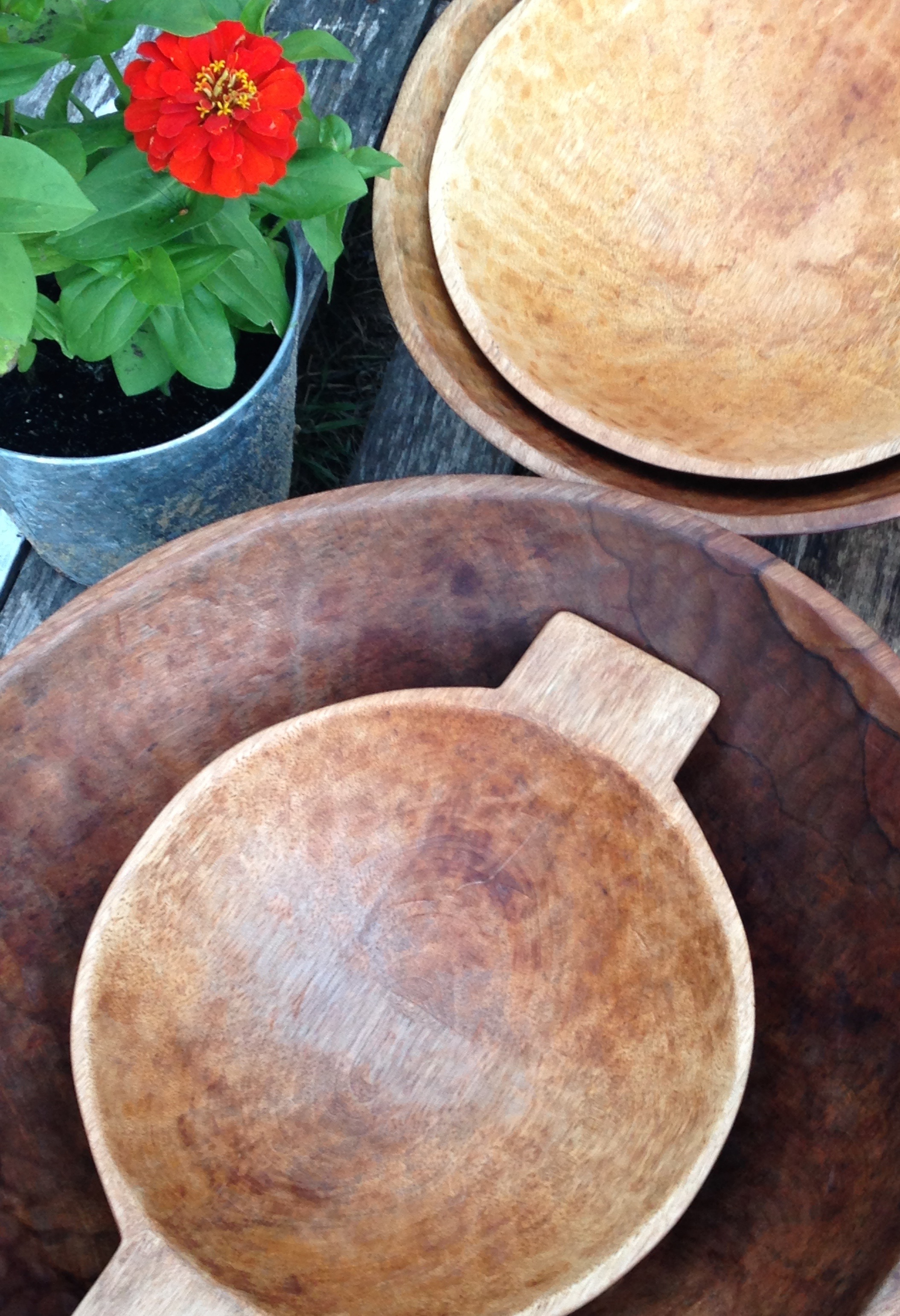 """14"""", 17"""" 20"""" and wooden bowl with handles. All hand-carved and sustainably sourced."""