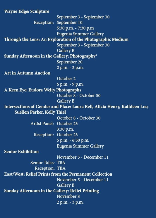 "*Registration required for ""Sunday Afternoon in the Gallery"" events"
