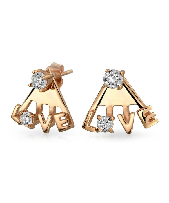 Bling Jewelry Bling Jewelry Modern LOVE CZ 925 Silver Polished Ear Jackets Rose Gold Plated available  HERE.