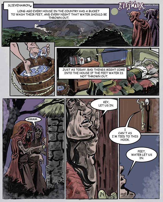 I little folk tale stripe I did for a competition a while ago. #comics #instacomics #irishfolktales #irishmyth #ireland #slievenamon #feetwater #instart #instahub #webcomic #makecomics #indiecomics #drawing #colouring #inking #comicstripe