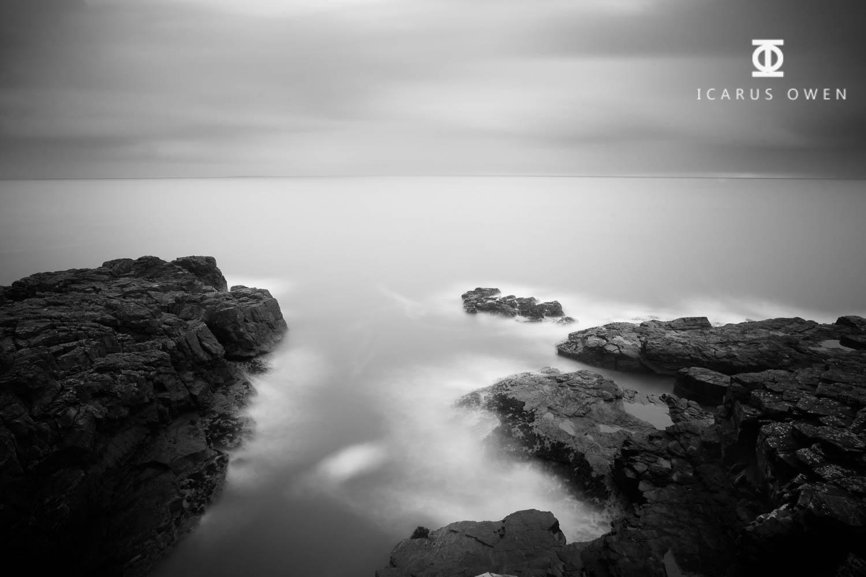 Aberdden coast, monochrome seascape.