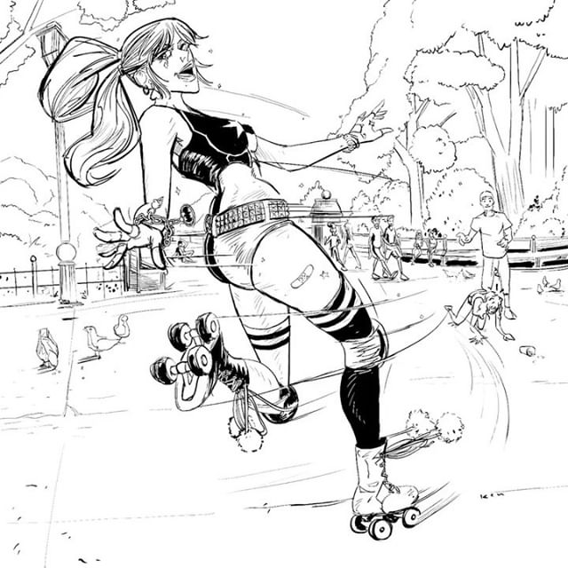 Harley's on a roll. (Slide for a still). #harleyquinn #thejoker #batman #dccomics #comicbookartist #comics #comicbookart #rollerskates #donthatehercauseyouainther #photoshop #wacom #cintiq #digitalart #digitaldrawing #process #inking #timelapse @photoshop @wacom @adobedrawing @kyle.t.webster @dccomics @thedcuniverse