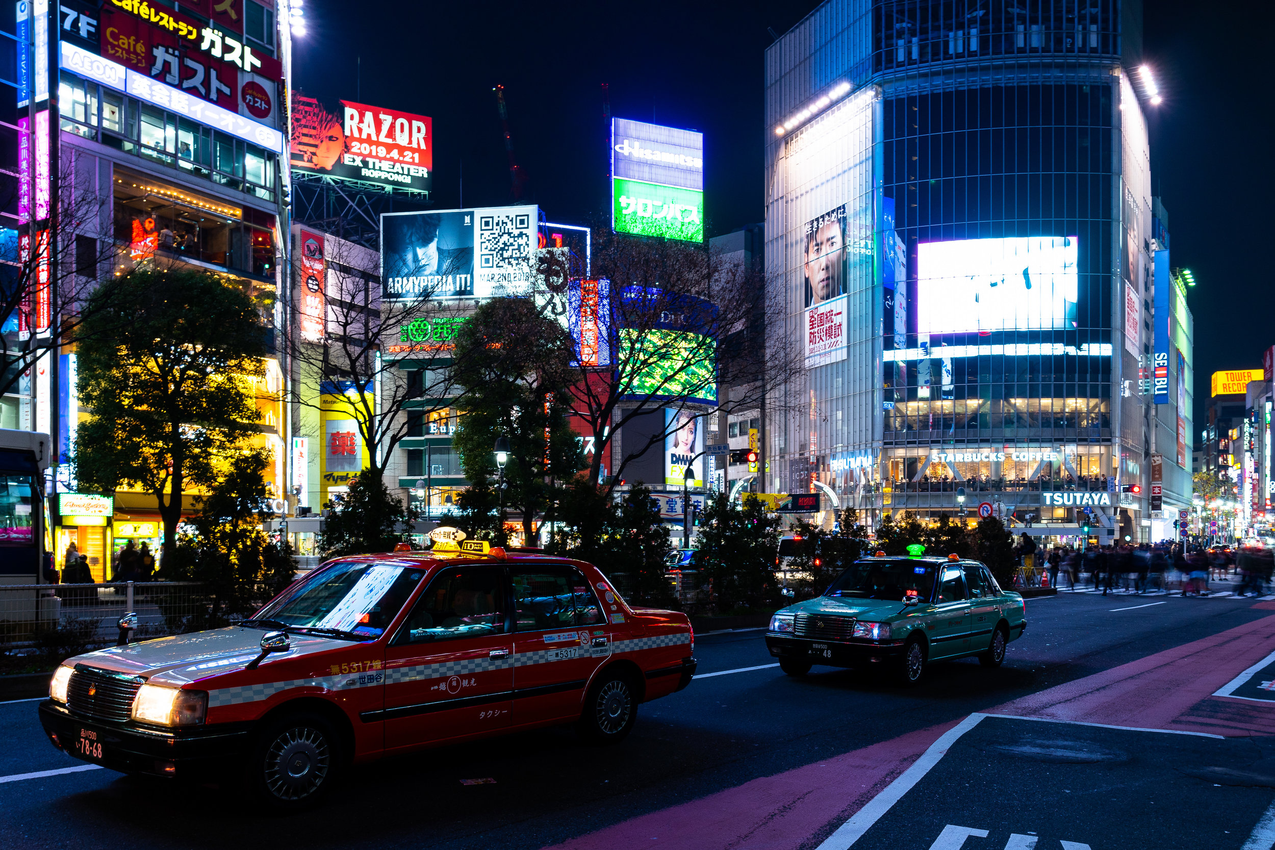 Shibuya Crossing Taxis.jpg