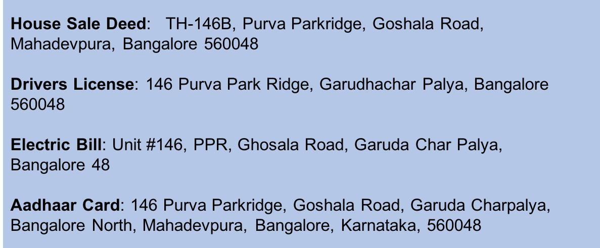 Figure 6: Same address written in multiple formats in different documents