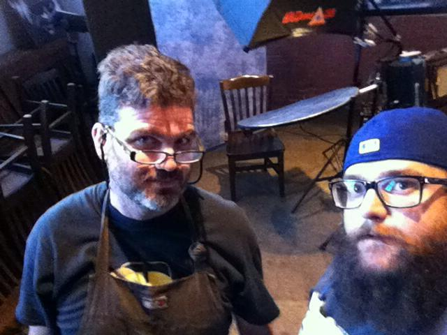"""Scott and Bryan at the pre-party event for Whiskermania in Louisville, KY, June 2015. A blurry  """"I-phone"""" photograph, which is a wholly and obviously inferior form of photography."""