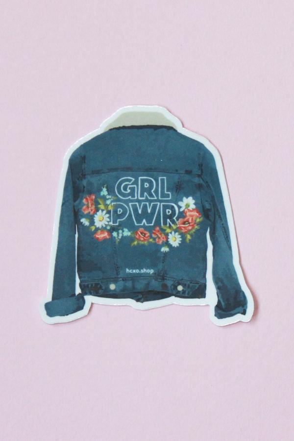 GRL PWR denim sticker